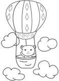 Συρμένο χέρι σκίτσο μιας αρκούδας σε ένα μπαλόνι ζεστού αέρα Στοκ Εικόνα