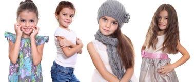 Κολάζ, τέσσερα ευτυχή μικρά κορίτσια Στοκ Εικόνα