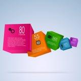 与五颜六色的立方体的抽象信息图表 免版税图库摄影