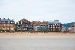 沿英吉利海峡的全景乌尔加特在诺曼底,法国 库存照片