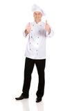 白色帽子的厨师有好标志的 免版税库存图片