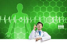 Доктор с знаменем Стоковое Изображение RF