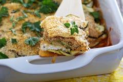 素食夏南瓜和乳清干酪烘烤 库存图片