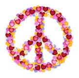 花和心脏的和平标志 免版税库存照片