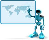 蓝色机器人和屏幕 免版税图库摄影