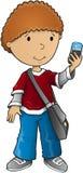 男孩聪明的电话传染媒介 库存照片
