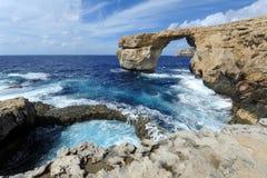 天蓝色的窗口在戈佐岛,马耳他 库存照片