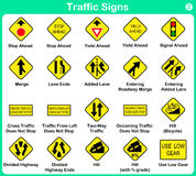 Συλλογή σημαδιών κυκλοφορίας, προειδοποιώντας οδικά σημάδια Στοκ φωτογραφία με δικαίωμα ελεύθερης χρήσης
