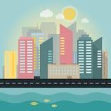 Плоская иллюстрация города Стоковые Изображения