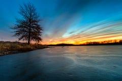冻结的湖冬天 库存照片