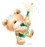 与瓶的逗人喜爱的玩具熊关闭-香槟 党邀请 愉快生日贺卡的问候 免版税图库摄影