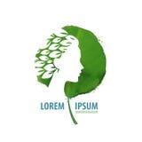 Природа и девушка логотип, значок, знак, эмблема, Стоковое Фото