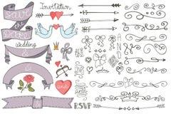 乱画婚礼丝带,漩涡边界,装饰集合 免版税图库摄影