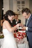 Γαμήλιο κέικ σίτισης νυφών στο νεόνυμφο Στοκ φωτογραφία με δικαίωμα ελεύθερης χρήσης