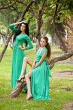 Όμορφη νέα γυναίκα δύο στο πράσινο μακρύ φόρεμα Στοκ φωτογραφία με δικαίωμα ελεύθερης χρήσης