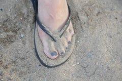 桑迪脚趾 免版税库存照片