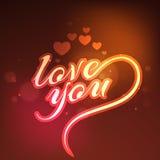 与发光的心脏的贺卡为情人节 库存图片