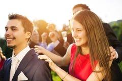 Приём гостей в саду свадьбы Стоковые Изображения RF