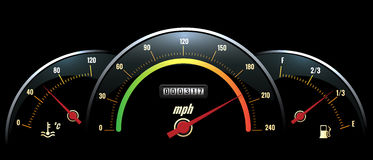 传染媒介车速表 温度显示和燃料 免版税库存图片