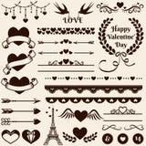 Στοιχεία σχεδίου αγάπης, ειδυλλίου και γάμου πολικό καθορισμένο διάνυσμα καρδιών κινούμενων σχεδίων Στοκ Εικόνα