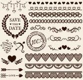 Στοιχεία σχεδίου αγάπης, ειδυλλίου και γάμου πολικό καθορισμένο διάνυσμα καρδιών κινούμενων σχεδίων Στοκ Εικόνες