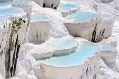 石灰华水池和大阳台在棉花堡,土耳其 库存照片