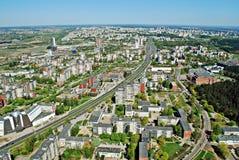 Столица города Вильнюса вида с воздуха Литвы Стоковое Изображение RF