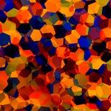 Αφηρημένο ζωηρόχρωμο χαοτικό γεωμετρικό υπόβαθρο Παραγωγικό κόκκινο μπλε πορτοκαλί σχέδιο τέχνης Δείγμα παλετών χρώματος Εξαγωνικ Στοκ Φωτογραφίες