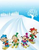 家庭滑雪旅行 免版税库存照片