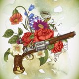Εκλεκτής ποιότητας κάρτα με ένα πυροβόλο όπλο και τα λουλούδια Στοκ φωτογραφίες με δικαίωμα ελεύθερης χρήσης