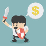 在攻击的商人拿着剑和盾 免版税图库摄影