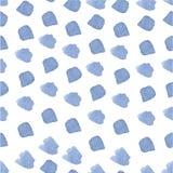 无缝蓝色手拉的水彩的绘画的技巧 免版税库存照片