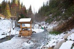 Δασική ιστορία χιονοδρομικών κέντρων κοντά στο Αλμάτι, Καζακστάν Στοκ φωτογραφία με δικαίωμα ελεύθερης χρήσης