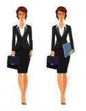 有公文包的女商人 免版税图库摄影