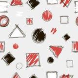 抽象手拉的乱画无缝的样式 黑,红色和白色颜色 库存图片