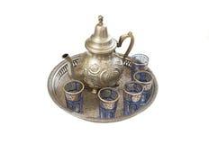 摩洛哥银色茶壶 库存照片