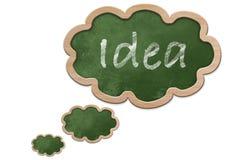 Ιδέα που γράφεται σε έναν σκεπτόμενο διαμορφωμένο φυσαλίδα πίνακα Στοκ Φωτογραφίες