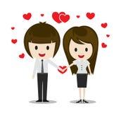 在握手,漫画人物的爱的逗人喜爱的夫妇 免版税库存照片