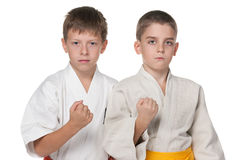 和服的两个严肃的男孩 免版税图库摄影