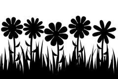 Безшовные трава и цветки силуэта Стоковое Изображение RF