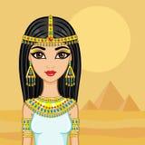 埃及公主在有古老金字塔的沙漠 免版税图库摄影