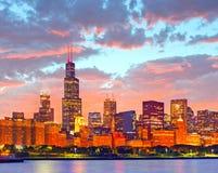 芝加哥伊利诺伊美国,街市城市的全景  库存照片