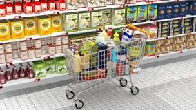 超级市场内部和购物 库存照片