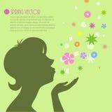 женщина цветет силуэт Стоковое Фото