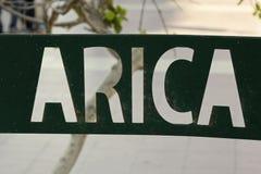 阿里卡镇标志 库存照片