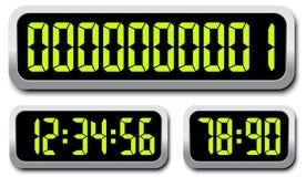 Σύνολο ψηφιακών αριθμών λευκό χρονομέτρων απεικόνισης σχεδίου αντίστροφης μέτρησης ανασκόπησης Στοκ εικόνα με δικαίωμα ελεύθερης χρήσης
