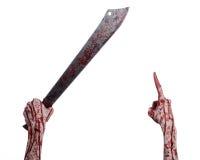 砍刀的照片_万圣夜题材:递拿着在白色背景的血淋淋的大砍刀 库存照片