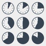 Ρολόι - διανυσματικό σύνολο χρονικής αντίστροφης μέτρησης Στοκ εικόνες με δικαίωμα ελεύθερης χρήσης