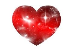 发光的心脏形状构造与星,光,行星 库存图片