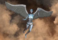 机器人机器人靠机械装置维持生命的人妇女天使 免版税库存照片